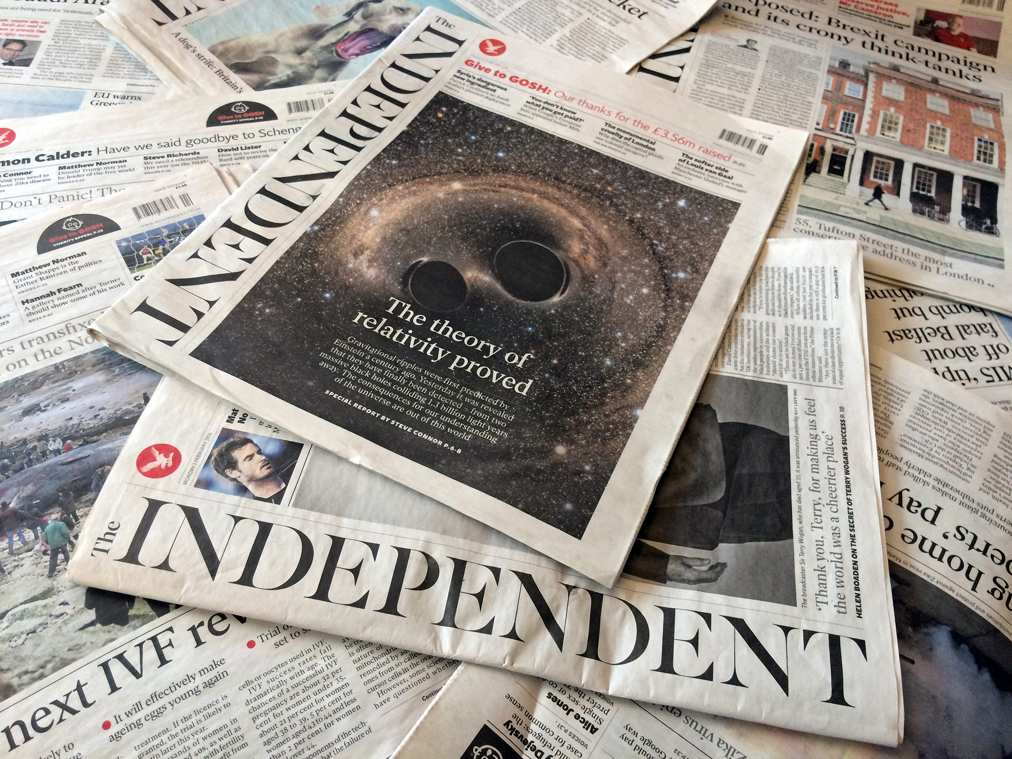 epa05156425 Editions of the British newspaper Independent are presented on a table in London, Britain, 12 February 2016. Britain's The Independent and The Independent on Sunday newspapers will close their print editions in March, owners ESI Media said on 12 February 2016. Both will have online-only editions. The Independent, which was launched in 1986, will become 'the first national newspaper title to move to a digital-only future,' ESI said. The Independent on Sunday will go online on March 20, and The Independent on March 26, the Press Association reported. EPA/TERESA DAPP